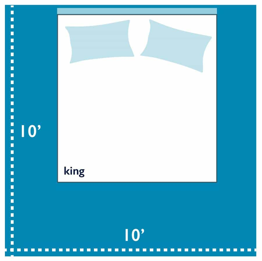 king-size-bed-in-10-by-10-bedroom Bed Size Dimensions